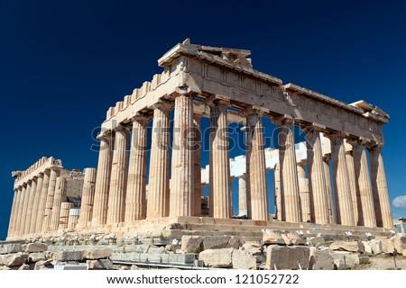 The Parthenon in the Akropolis, Athens. - stock photo