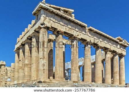 The Parthenon is a temple on the Athenian Acropolis, Greece - stock photo