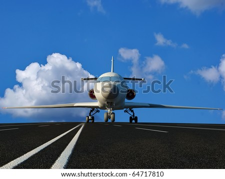The passenger plane on the runway - stock photo