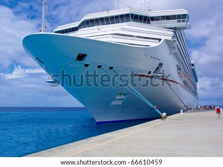 The passenger ship in port. - stock photo