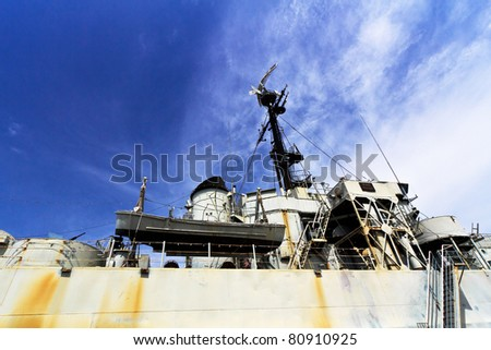 The past of ship on ship war - stock photo