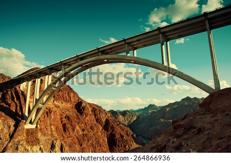 The Pat Tillman Bridge spanning the Hoover Dam gorge. - stock photo