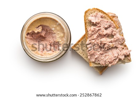 the pate with bread on white background - stock photo