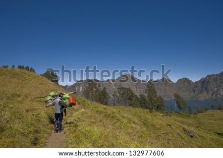 The path along the slope of volcano Rinjani, Lombok Island, Indonesia - stock photo