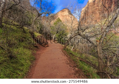 The path to the Emerald Pools at Zion National Park, Utah - stock photo