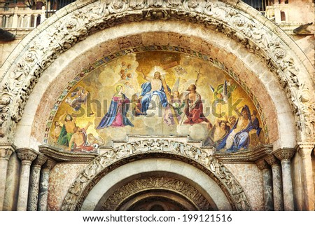 The Patriarchal Cathedral Basilica of Saint Mark at the Piazza San Marco. St Mark's Square, Venice Italy. - stock photo