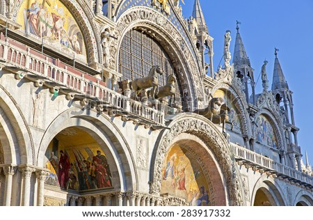 The Patriarchal Cathedral Basilica of Saint Mark at the Piazza San Marco. St Mark's Square, Venice, Italy - stock photo