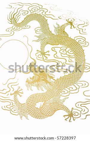 The Pattern Of Gold Dragon - stock photo