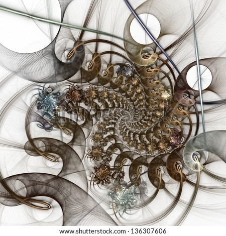 The pattern of the grid and bunches of spirals. Computer generated graphics. - stock photo