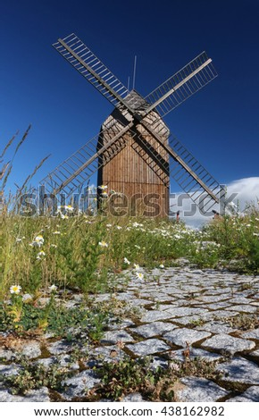 the pavement and the windmill in beautiful morning