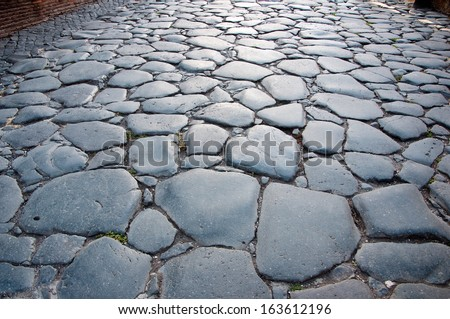 The pavement in Rome, Italy. - stock photo