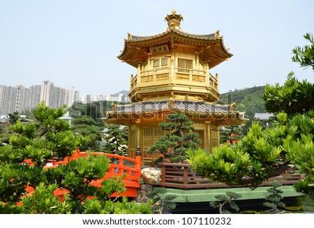 The Pavilion of Absolute Perfection in the Nan Lian Garden, Hong Kong - stock photo