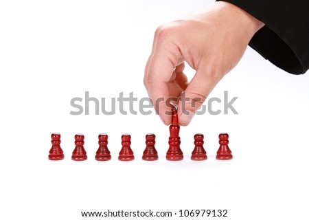 The pawn become a queen on a white background - stock photo