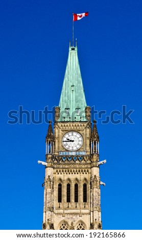 The Peace Tower on Parliament Hill in Ottawa, Canada - stock photo