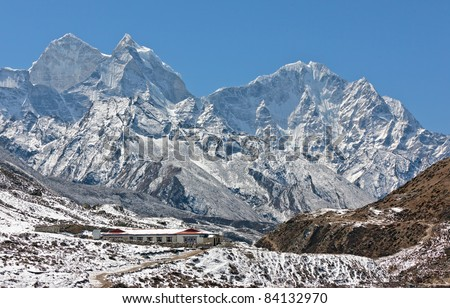 The peaks of the himalayas - Periche, Nepal - stock photo