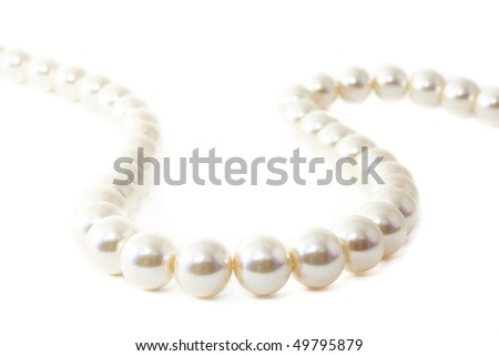 The Pearl necklace on white background.The Fashionable accessory. - stock photo