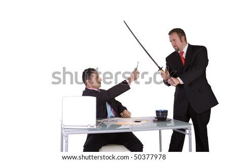 The pen is mightier than the sword - Concept - stock photo