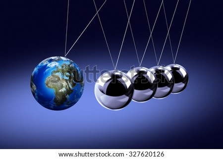 The pendulum of Newton as the Earth symbolizing the risk, dynamics, fragility, etc. On the dark background - stock photo