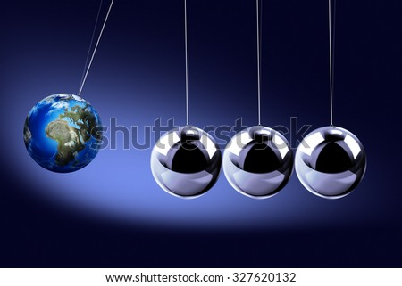 The pendulum of Newton as the Earth symbolizing the risk, dynamics, fragility, etc. On the dark background