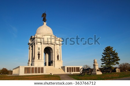 The Pennsylvania Memorial Monument, in the Gettysburg National Military Park, in Adams County, Pennsylvania, on an autumn day.  - stock photo