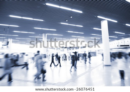 the people going on the subway station in shanghai china. - stock photo