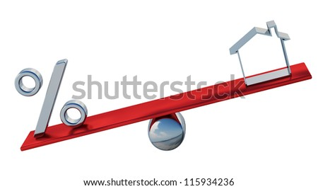 The percent sign and symbol of the house on the balance - stock photo
