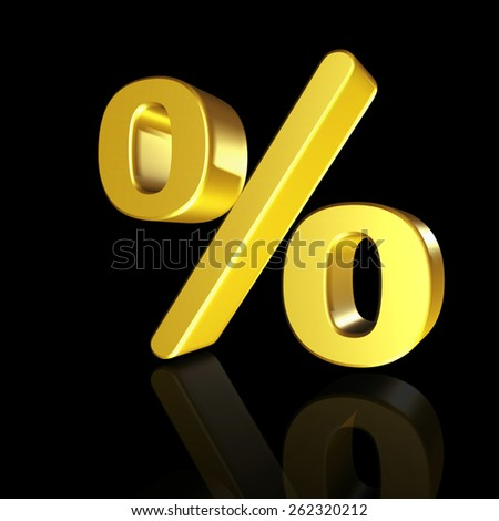 The percent sign with the effect of 3D isolated on black background - stock photo