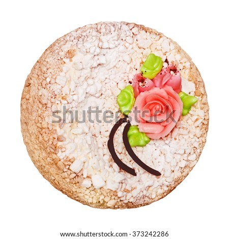 The perfect cake, pie with cream decorated with chocolate and cream flowers, the top view isolated on the white - stock photo