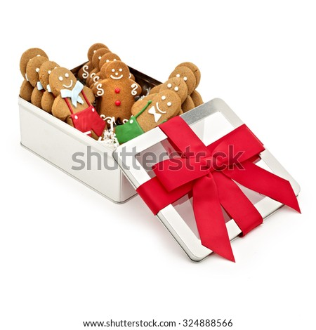 The perfect Christmas gift, stylish box of yummy ginger man cookies - stock photo