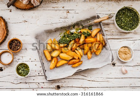 The Perfect finger food for cottage fries potatoes and a delicious accompaniment to many a meal. Rustic style - stock photo