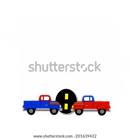 "The period mark, in the alphabet set ""Transportation by Road"", is black with yellow dividing line representing a black top road.  Two motorized vehicle navigates each side of period. - stock photo"