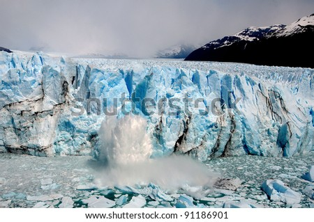 The Perito Moreno Glacier is a glacier located in the Los Glaciares National Park in the Santa Cruz province, Argentina. It is one of the most important tourist attractions in the Argentine Patagonia - stock photo