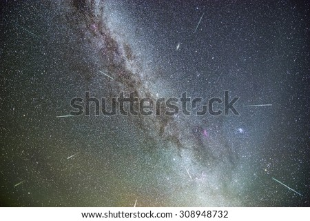 The Perseids Meteor Shower - stock photo