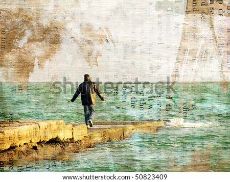 The person and the sea. Stylization an old photo