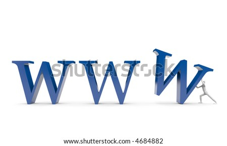 The person brings up WWW symbol - isolated with clipping(work) path. - stock photo