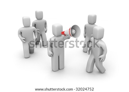 The person draws attention - stock photo
