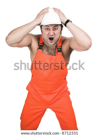 The person in red working clothes. - stock photo