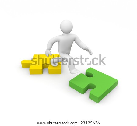 The person jumps on puzzles. Overcoming of barrier. Business concept - stock photo