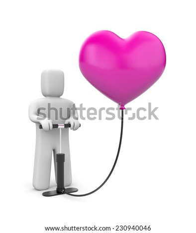 The person pumps up heart balloon - stock photo