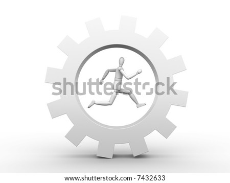 The person running in a gear