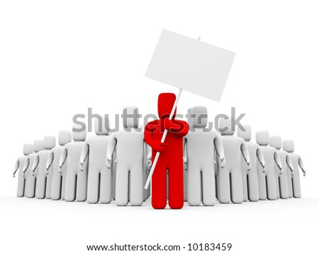 The person with the poster. Easy editable image, add your text on placard - stock photo
