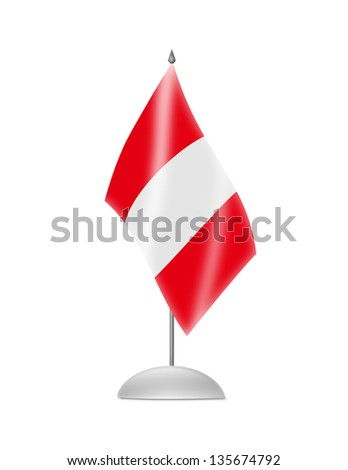 The Peru flag. Table Flag. Isolated on white. - stock photo