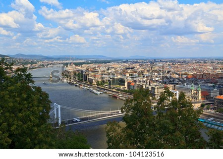 The Pest side of Budapest next to the Danube - stock photo