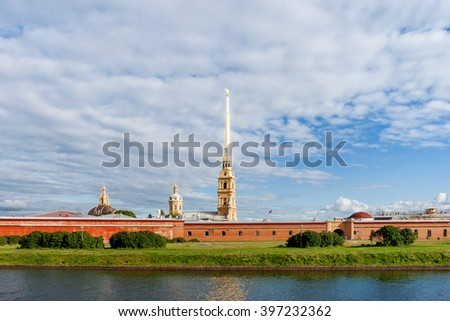The Peter and Paul Cathedral in Saint-Petersburg, Russia. The Peter and Paul fortress. The world's tallest (122,5 m) Orthodox bell tower. - stock photo