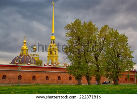 The Peter and Paul Cathedral. Saint Petersburg, Russia. The world's tallest (122,5 m) Orthodox bell tower.  - stock photo