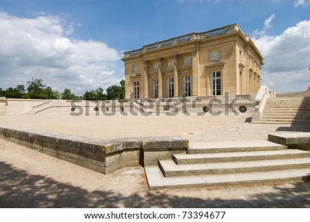 The Petit Trianon , small castle built by Gabriel for Louis XV .
