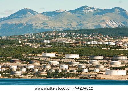 the petrochemical industry - the refinery near Rijeka in Croatia - stock photo