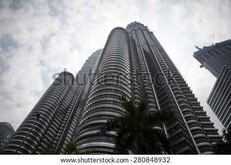 The Petronas Towers in Kuala Lumpur, Malaysia. 3 March 2011. - stock photo