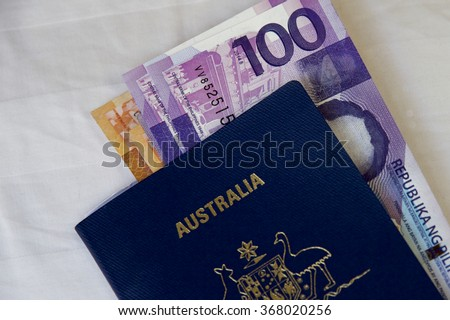 The Philippines money and Australian passport.