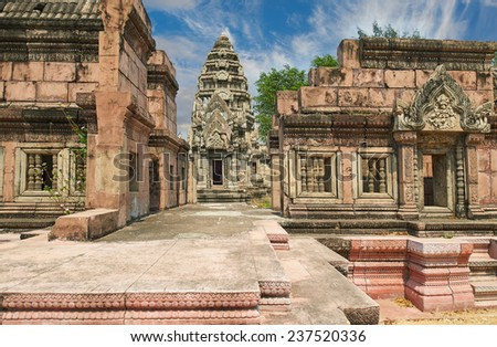 The Phimai Sanctuary, Nakhon Ratchasima. Ancient Siam (formerly known as Ancient City) is a park constructed under the patronage of Lek Viriyaphant and spreading over 200 acres, Thailand. - stock photo